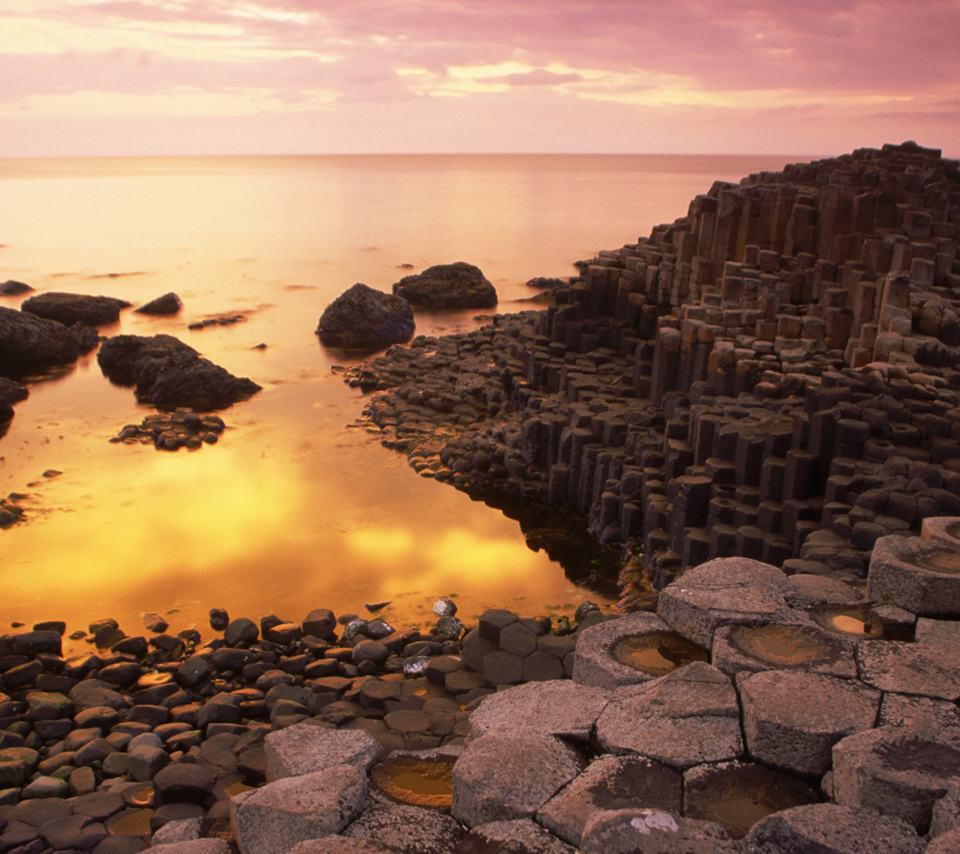 Basalt Columns of Giant's Causeway at Sunset, County Antrim, Northern Irela