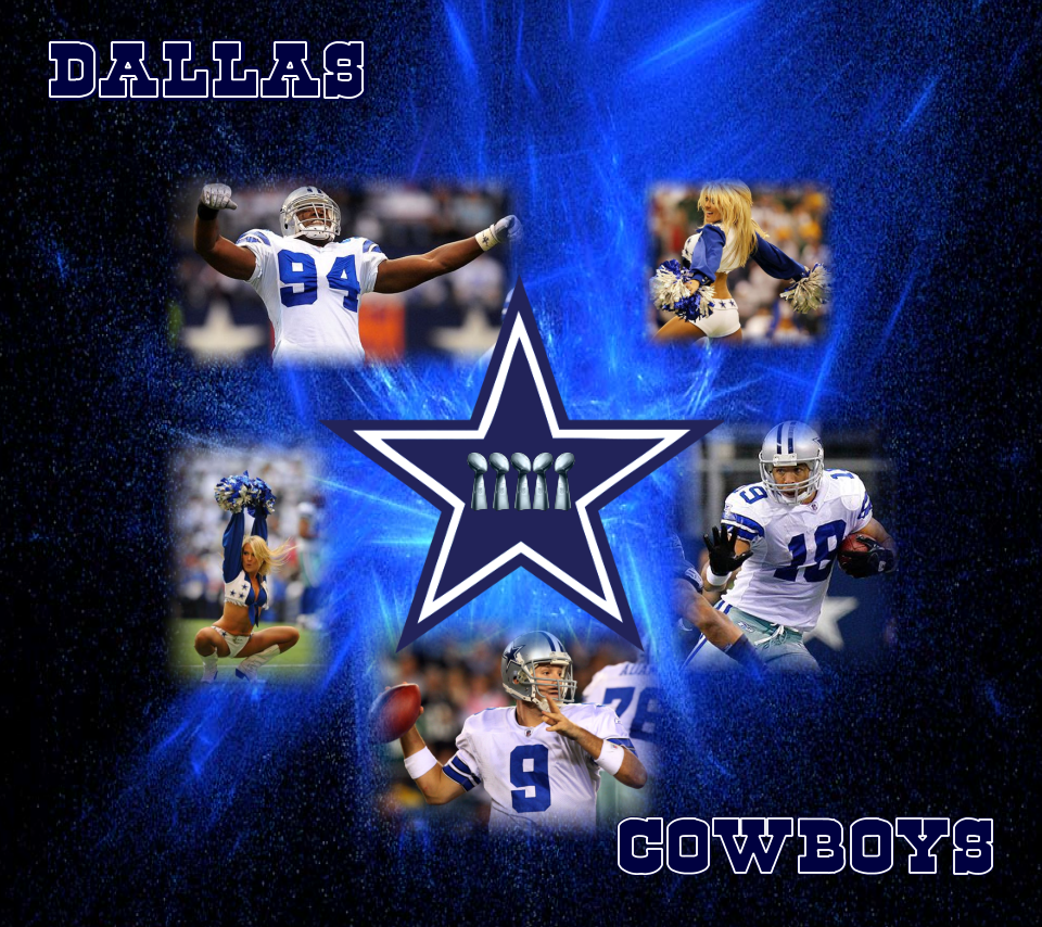 Dallas Cowboys Logo with players and cheerleaders