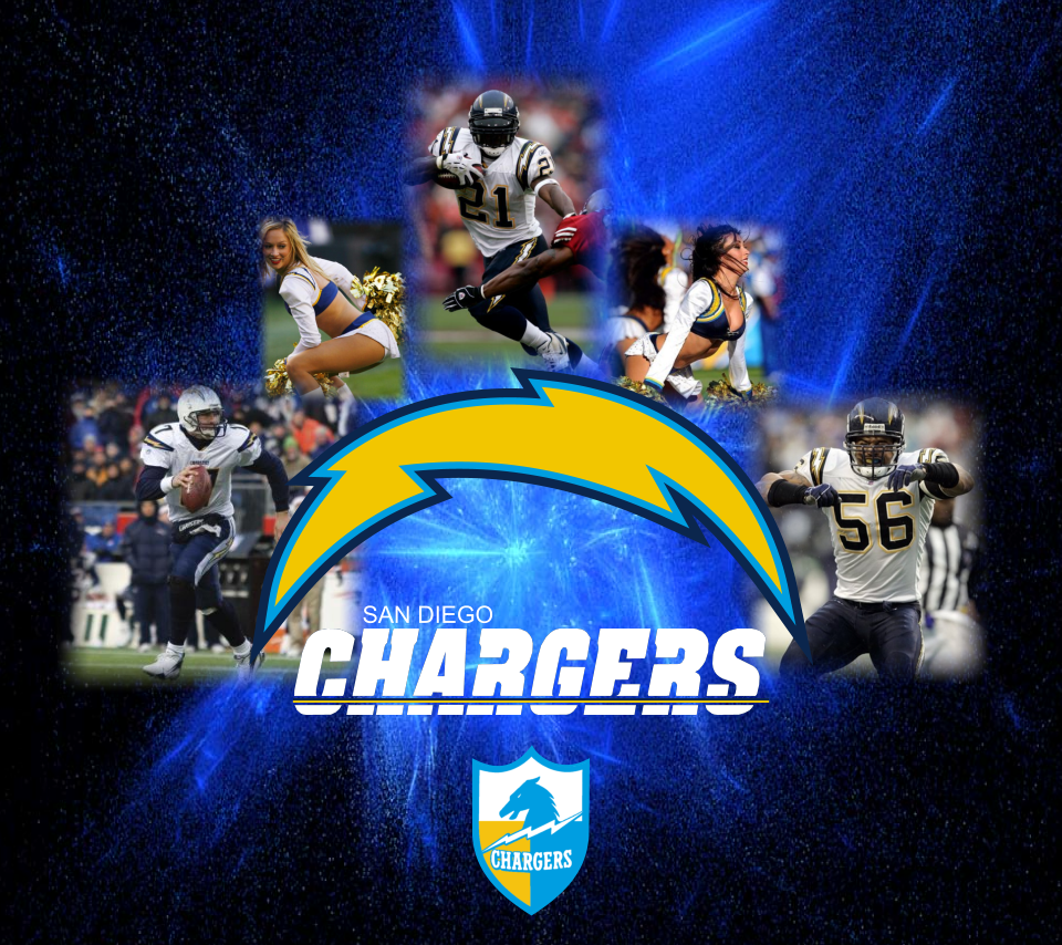 Chargers players and cheerleaders