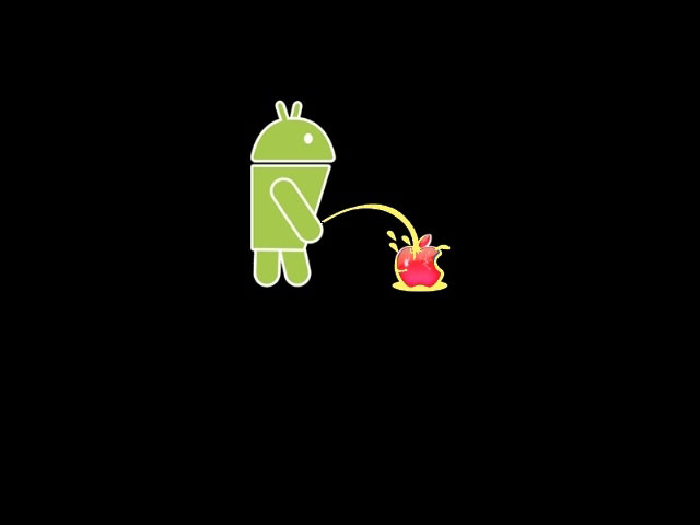 Droid peeing on apple (no android)