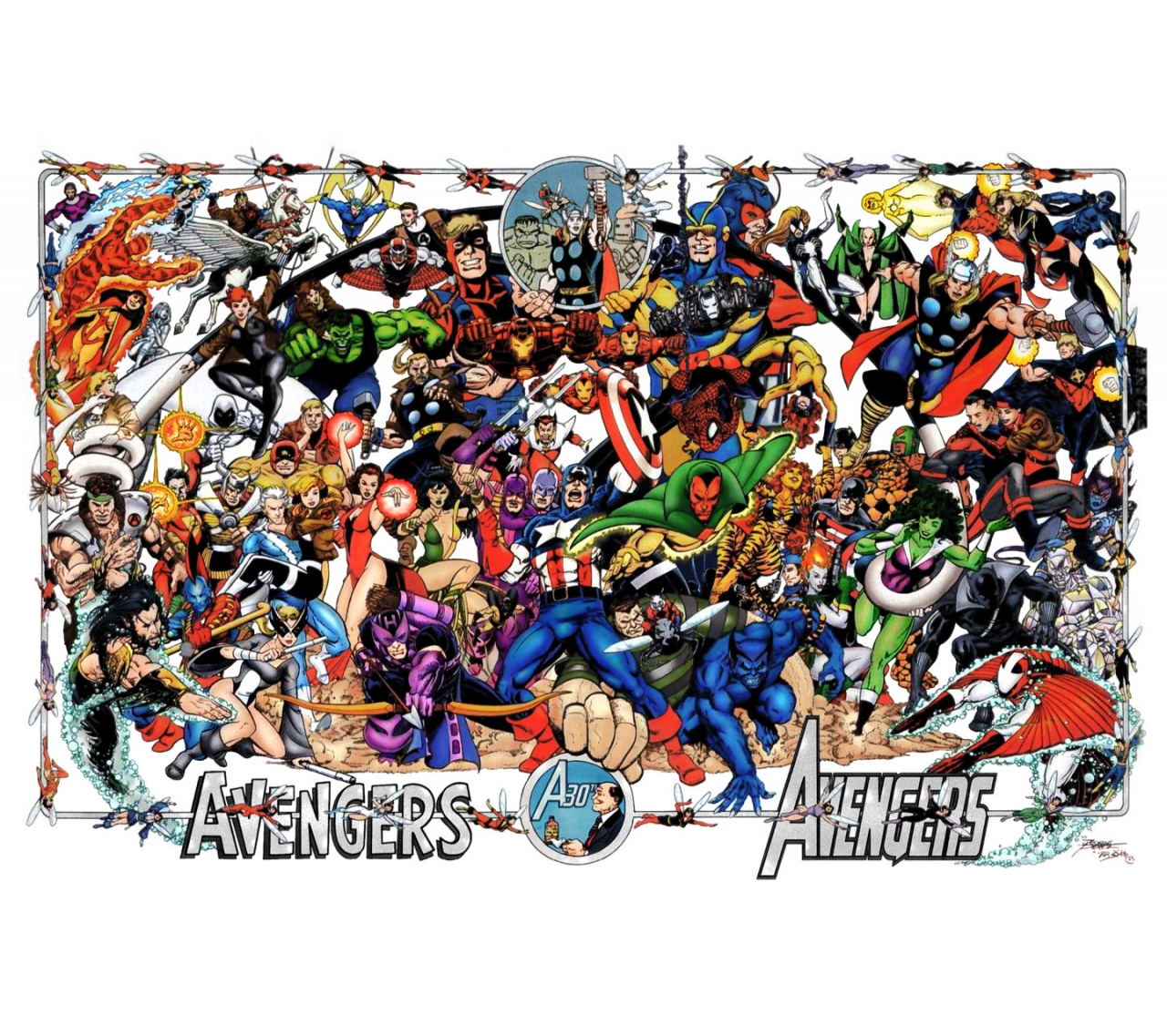 Avengers 30th Anniversary Poster by George Perez