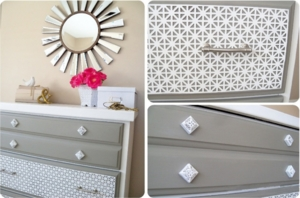 new twist on an old dresser with decorative aluminum sheet